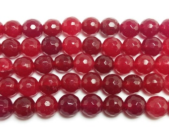 Deep Red Jade Faceted Gemstone Beads