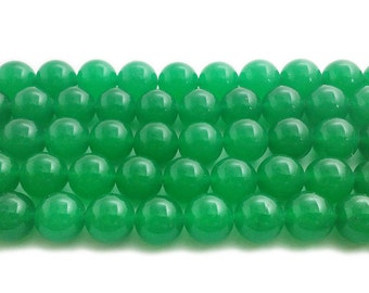 Bright Green Jade Round Gemstone Beads