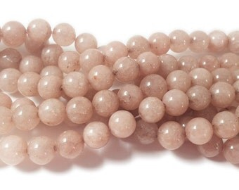 Melon Pink Jade Round Gemstone Beads
