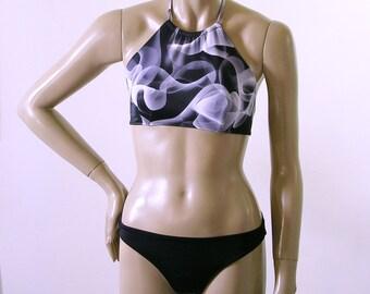 High Neck Bikini Top and Full Coverage Bikini Bottom in Black White and Grey Blackwater Print in S.M.L.XL.