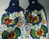 Butterflies  - Set of Two Hand Crocheted Kitchen Top Towels