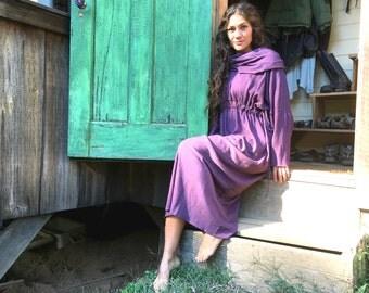 Hemp dress, Indian Summer with Cowl, Full Length, Long Sleeved dress,
