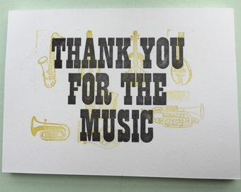 Thank You for the Music letterpress print