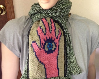 Hamsa scarf, cotton and rayon scarf in fisherman's knit, scarf with hamsa, hamesh, chamsa, khamsa  symbol, gift for her, gift for women