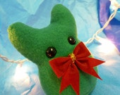 Christmas Plush Monster - Bowtie Something - Green Stuffed Animal with Red Bow - Small Plush - Cute Stocking Stuffer - Holiday Decoration