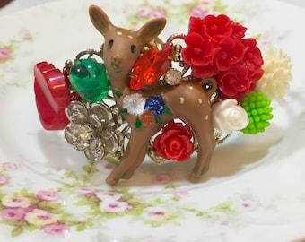 Floral Assemblage Cuff Bracelet, Statement Jewelry, Reindeer Flower Cuff Bracelet, Woodland Deer Cuff, Christmas Bracelet, KreatedbyKelly