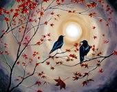 Two Ravens Black Crows Birds Wall Art Moon Moonlight Earthy Burgundy Autumn Maple Leaves Goth Zen Surreal Giclee Canvas Fine Art Print