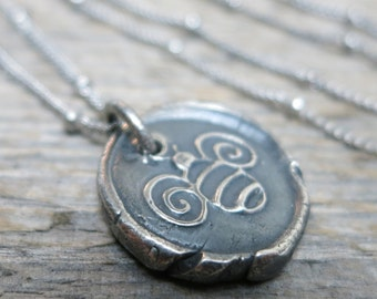 Little Bee necklace ... fine silver / sterling sliver / antique silver / wax seal bee pendant