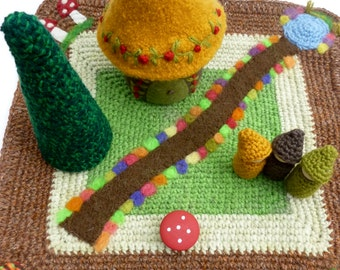 Play mat wool playscape gnomes, tree, cottage Waldorf inspired play set ready to ship