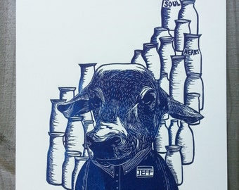 """Original Print, Hand Pulled Print, """"Hi, How May I Help You Today?"""", Linocut Print, Relief Print, Limited Edition, Wood cut Print"""