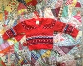 Vintage Red Fair Isle Baby Sweater