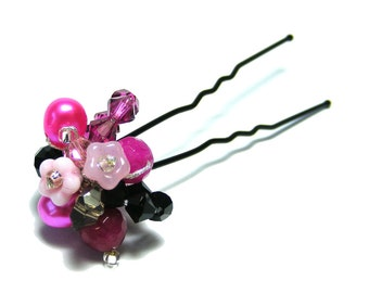 Floral Hair Pin, Flower hair pin, Pink and Black, Cluster Hair Pin, Pearl and Crystal Hair Pin, Beautiful Hair Pin, Hair Jewelry