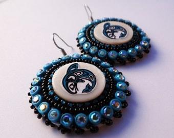 Native American Beaded Earrings Teal Whale