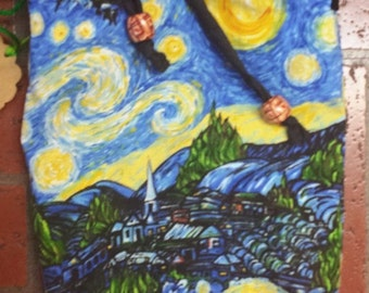 Starry Night Vincent Van Gogh Fabric in a little Bag