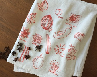 Not Green Herbs Kitchen Towels Floursack Cotton towels Kitchen Spices Hand Drawn Towels Gifts for Men