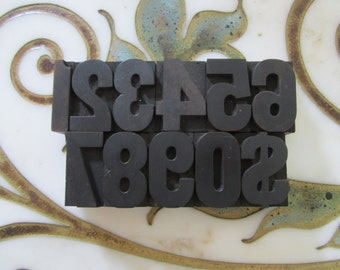 Vintage Letterpress Wood Type Number Set Printers Blocks