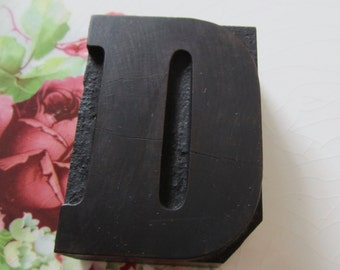 Letter D Antique Letterpress Wood Type Printers Block