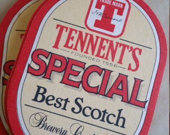 Vintage Tennent's Cardboard Scotch Coaster, Founded 1556, Brew Collector Mats, UK drink mats