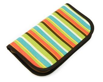 SALE 25% OFF Travel Zip Around Knitting Needle Organizer - Frolic Stripes - tan pockets