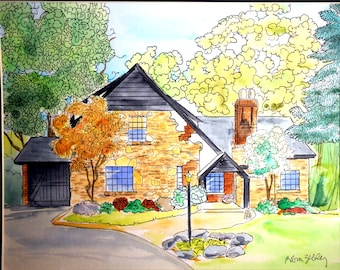 House Portrait Painting, Watercolor with Ink Details, Fall Folliage
