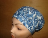 New Blue and White Flower Euro Style Medical Surgical Scrub Hat Vet Nurse Chemo