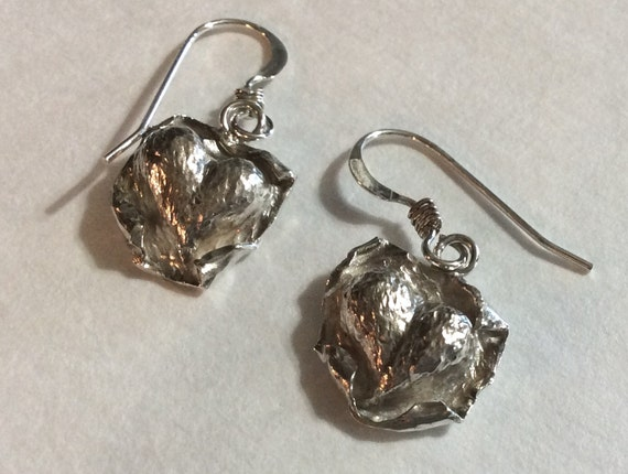 Chased and Repousséd Sterling Silver Heart Earrings