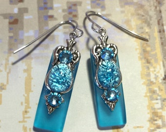 Caribbean Aqua Stained Glass Earrings with Aqua Glass Opal and Aquamarine Crystal Accents