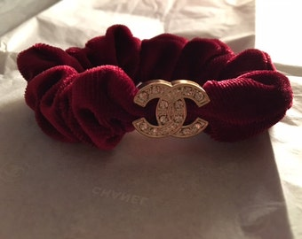 Gorgeous Maroon Red Hair Tie with clear crystals