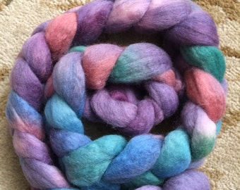 4 ounce (oz) braid of Blue Faced Leicester (BFL)-Purples, Blue, Green and Red, professionally dyed for Spinning, felting, drop spindle.