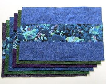 Placemats Ocean Blue, Green, Purple Set of 6