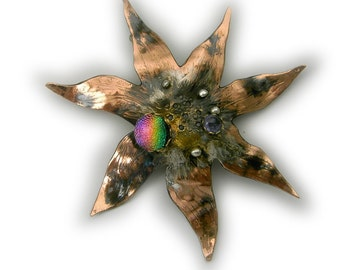 Flower Pin Brooch in Sterling Silver and Married Metals  with amethyst and dichroic by Cathleen McLain McLainJewelry 11344