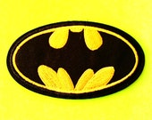 Batman Bruce Wayne Classic DC Comics Caped Crusader Logo Yellow on Black Iron or Sew On Patch