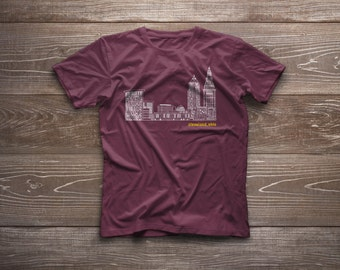 Unisex Adult Tee - Cleveland Skyline - Red + Gold Edition