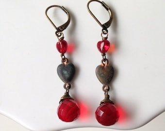 Red heart earrings. Valentines Jewelry
