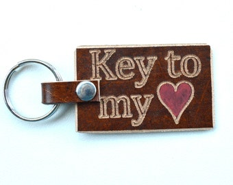 Leather Key Ring Key to My Heart