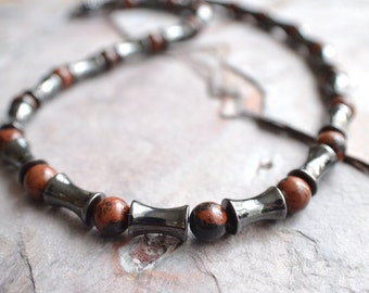 The Marco- Hematite and Jsaper Men's Necklace
