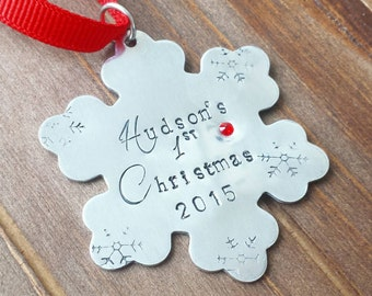 Baby's First Christmas Personalized  Ornament - Hand Stamped Christmas Ornament - Anniversary Our First Christmas - Custom Christmas Gift