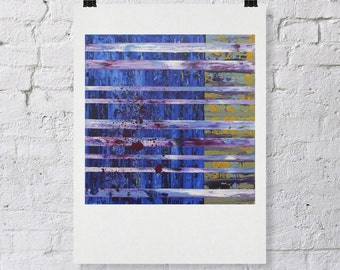 Fine Art Giclee PRINT on Paper of an Original Abstract Painting by Lisa Carney - QIAMETH - indigo modern stripe painting - 12x12""
