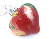 SALE Hand Painted Christmas Ornament Keepsake - Red Yellow Green and White Glass Heart - One of a Kind Holiday Office Home Decor