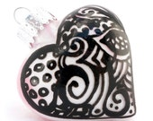 SALE Zentangle Glass Heart Handpainted Inside and Outside Ornament Keepsake - OOAK Art Pieces - Home Office Decor - Silver White Black Pink