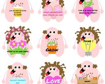 Kittypinkstars positivity stickers pack 2