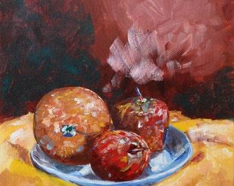 Original Artwork: Acrylic Painting - Apples & Orange Still Life I