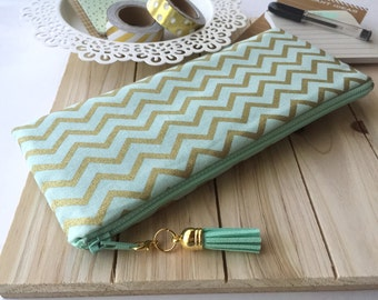Mint and Gold Chevron - pencil case, planner pouch, pencil bag with tassel pull