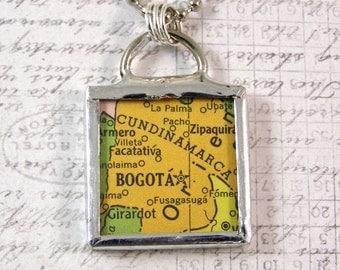 Bogota Colombia Vintage Map Pendant Necklace