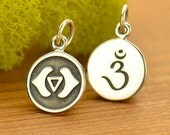 Third Eye Chakra Charm - Yoga Jewelry - DIY Sterling Silver round disc charm-double sided with sanskrit - 6th sixth chakra- yoga necklace