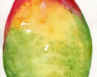 Mango watercolor painting, Mango painting, Original Watercolor, 4 x 6, fruit original painting, kitchen decor, mango tropical fruit wall art