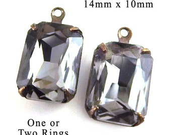 Black Diamond Glass Beads, Gray, Octagon, Patina Brass Settings, 14mm x 10mm, One or Two Rings, Rhinestones, Pendant or Earrings, One Pair