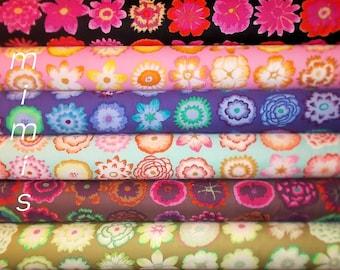 SALE !  Button Flowers, all 6 Colorways / Kaffe Fassett Fabric Gorgeous BLUES, 6 Half Yard Bundle Cotton Quilt Apparrel Fabric