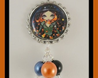 "Jasmine Becket-Griffith ""Little Candy Witch"" bottlecap necklace"