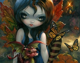 Autumn fairy art print by Jasmine Becket-Griffith 12x16 BIG four seasons baby dragon fall leaves autumnal  butterfly butterflies